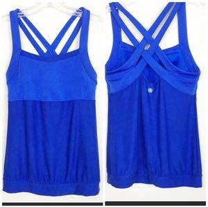 Athleta Blue Criss Cross Workout Tank Top